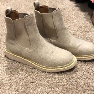 White Felt Universal Thread Mid Ankle Boot